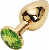 Анальная пробка золотая с зеленым кристаллом 2,8 х 7,6 47098 | Анальные пробки с кристаллом | Секс-шоп Мир Оргазма