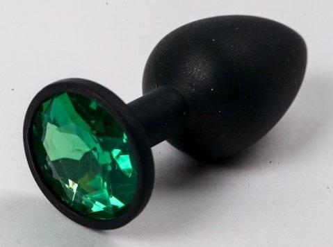 Пробка силиконовая черная с зеленым стразом 7,1 х 2,8 см 47122