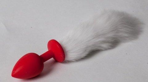 Пробка красная силикон с белым хвостом 2,8 х 18,9 см 47163