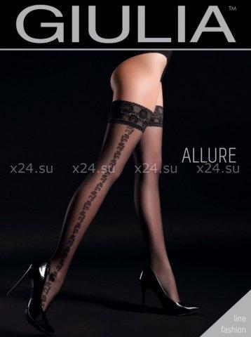 Чёрные чулки с узорами на боках на силиконовой полоске Allure 1 Nero 20 Den