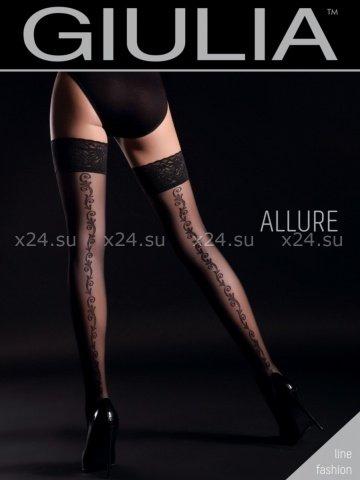 Чёрные чулки с узорами сзади на силиконовой полоске Allure 2 Nero 20 Den