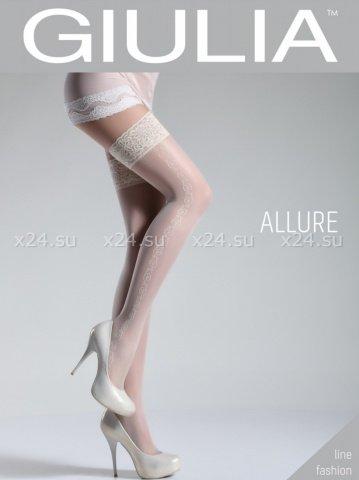 Белые чулки с узорами на боках на силиконовой полоске Allure 5 Bianco 20 Den