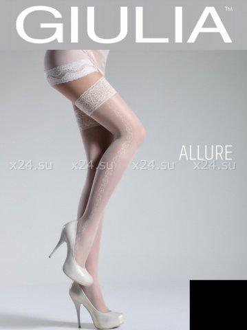 Чёрные чулки с узорами на боках на силиконовой полоске Allure 5 Nero 20 Den