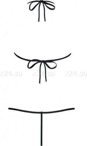 Черное открытое боди с кружевной вышивкой на груди Luiza Teddy SM, фото 4