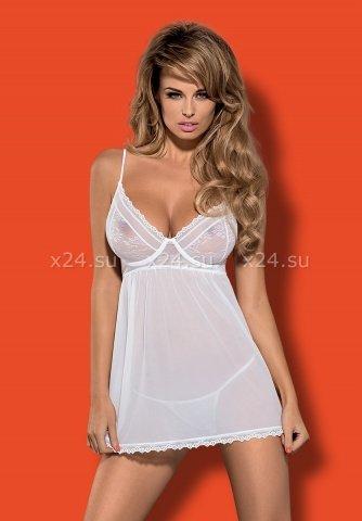 Белая прозрачная сорочка на косточках Favoritta Babydoll