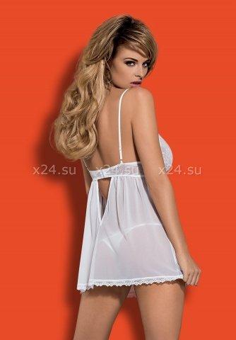 Белая прозрачная сорочка на косточках Favoritta Babydoll LXL, фото 2
