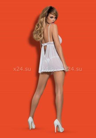 Белая прозрачная сорочка на косточках Favoritta Babydoll, фото 4