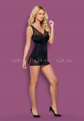 Черное мини-платье с камушками на груди Miamor Chemise, фото 3