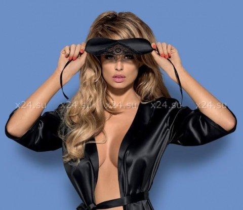 Черная атласная маска с кружевом на завязках Satinia Mask