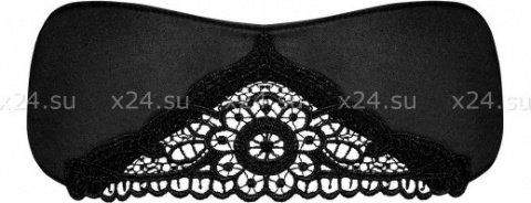 Черная атласная маска с кружевом на завязках Satinia Mask, фото 2