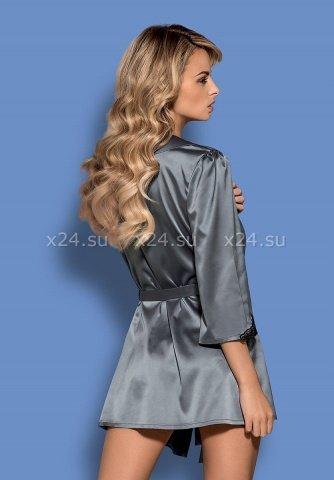 Серый атласный халатик с кружевом на рукавах Satinia Robe SM, фото 2