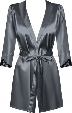 Серый атласный халатик с кружевом на рукавах Satinia Robe SM, фото 5