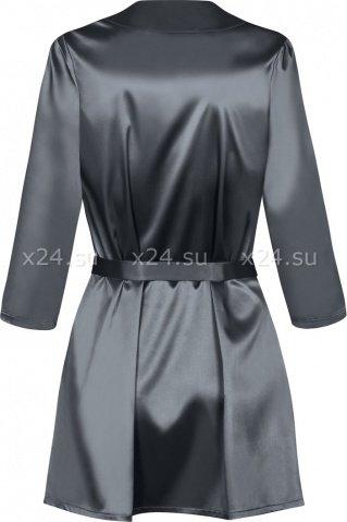 Серый атласный халатик с кружевом на рукавах Satinia Robe SM, фото 6