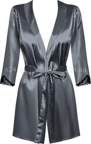 Серый атласный халатик с кружевом на рукавах Satinia Robe LXL, фото 5
