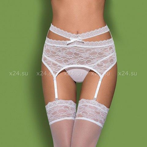 Белый кружевной пояс со стрингами Swanita Garter Belt