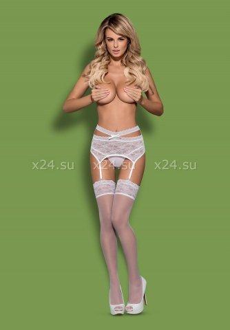 Белый кружевной пояс со стрингами Swanita Garter Belt, фото 3