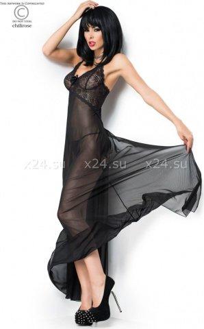 Чёрная длинная сорочка с вырезом сзади, фото 3