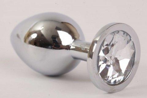 Анальная пробка серебрянная с прозрачным кристаллом M 3,4 х8,2