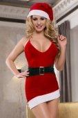 Новогоднее платье с имитацией пояса и головной убор красно белый - Секс шоп Мир Оргазма