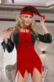 Костюм помощницы Санты: топ, юбка, стринги, галстук и головной убор красно-зеленый-OS - Секс-шоп Мир Оргазма
