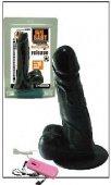 Вибромассажер фаллос с мошонкой на присоске с выносным пультом, ПВХ - Секс шоп Мир Оргазма