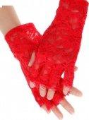 Перчатки короткие с открытыми пальчиками, красные