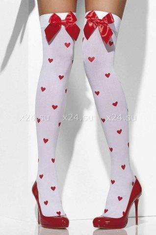 Белые чулки с бантиками и сердечками, фото 2