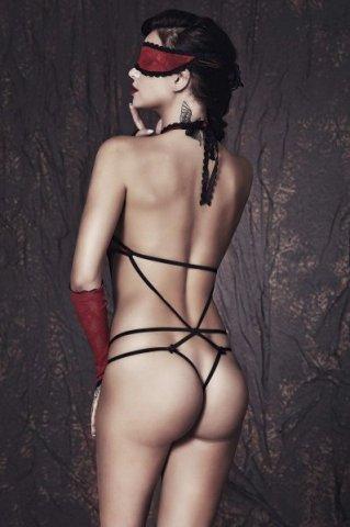 Ashley - Боди, маска и перчатки красно-черные -M