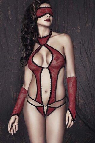 Ashley - Боди, маска и перчатки красно-черные -M, фото 2