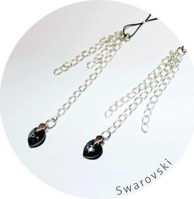 Украшение для груди с кристаллами Swarovski, черно-серебристое