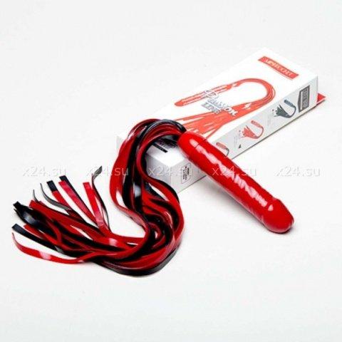 Чёрно-красный латексный фаллос-плетка Mini Rocket 45 см