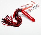 Чёрно красный латексный фаллос плетка 45 см - Секс шоп Мир Оргазма