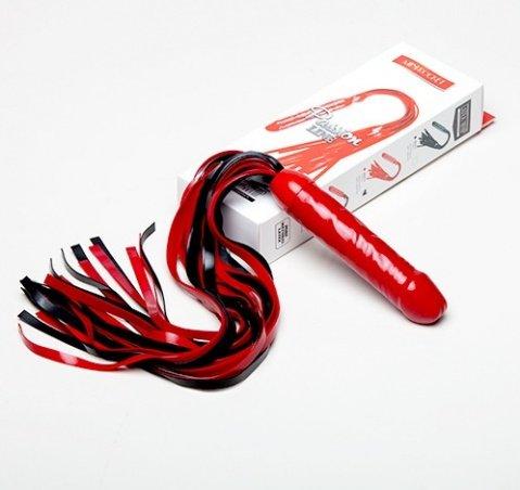 Чёрно-красный латексный фаллос-плетка Mini Rocket 45 см, фото 2
