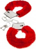 Меховые наручники красные - Секс шоп Мир Оргазма