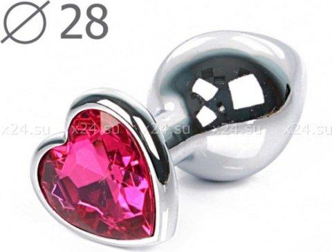 Малая серебрянная пробка с розовым кристаллом в виде сердца Jewelry Plugs Anal