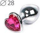 Малая серебрянная пробка с розовым кристаллом в виде сердца Jewelry Plugs Anal - Секс-шоп Мир Оргазма