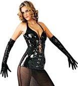 Виниловые черные длинные перчатки на молнии S - Секс-шоп Мир Оргазма