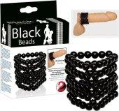 Стимулирующая открытая насадка с бусинами на пенис Black Beads, диаметр универсальный., диаметр универсальный. - Секс-шоп Мир Оргазма