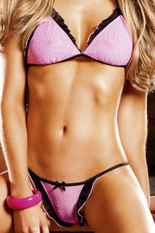 Розовый комплект бикини с рюшами черного цвета, фото 4