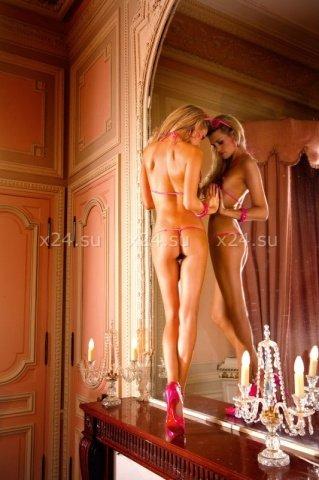 Черный комплект бикини с розовыми рюшами, фото 4