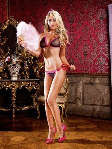 Комлект черного бикини с розовой шнуровкой, фото 2