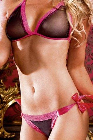 Комлект черного бикини с розовой шнуровкой, фото 4