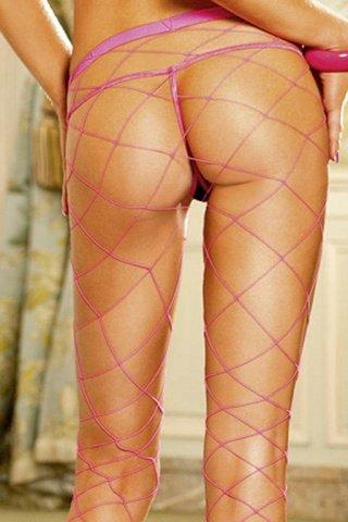 Неоновые розовые колготки в сетку, фото 2