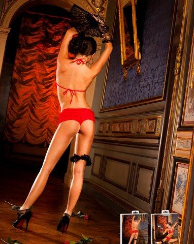 Красный комплект с укороченными шортиками с рюшами, фото 3