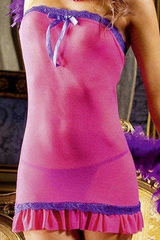 Розовое платье-труба с кружевом, фото 2