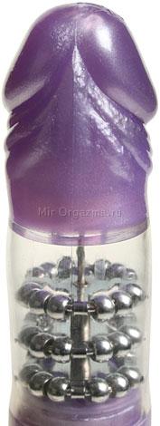 Вибратор с шариками фиолетовый Thruster, фото 3