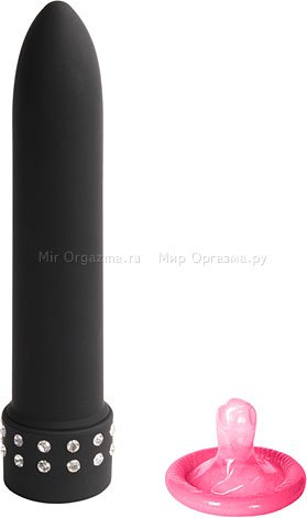 Мини-вибратор Diamond silk 13 см, черный