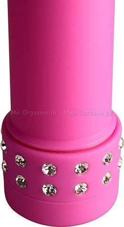 Мини-вибратор Diamond silk 13 см, розовый, фото 3