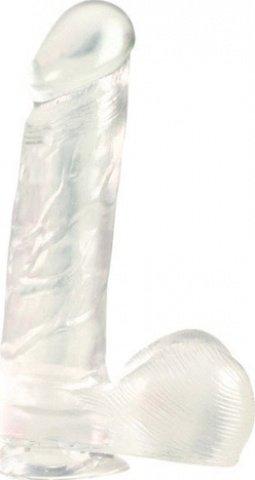 Фаллоимитатор прозрачный на присоске 18 см, фото 3