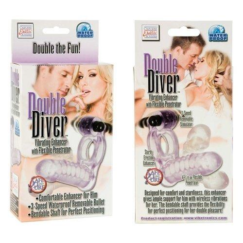 Эрекционное кольцо с фаллоимитатором Double Diver 9 см, фото 4